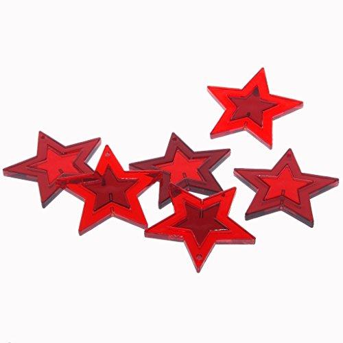 Decoratieve acryl sterren om op te hangen, neer te zetten of te steken in rood/bordeaux – kerstversiering – tafelversiering – raamdecoratie – strooidecoratie – advent – ca. 5,5 cm, 2-voudig gesorteerd - 1 VE = 3 x 6 stuks - A118
