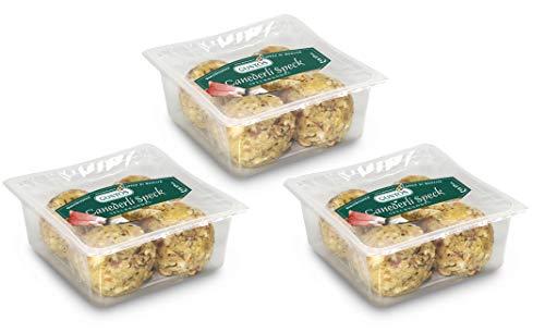 3 Packungen Speckknödel von Gustos, jeweils 4 Stück. Hergestellt nach Traditionsrezept der Südtiroler Familien, lecker und schnell zubereitet. Mit geräuchertem Speck.