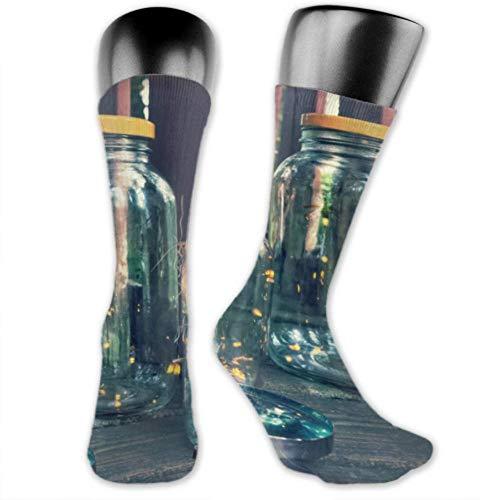 Calcetines Leila Marcus para hombres y mujeres son cómodos, ligeros y sudorosos, divertidos frascos de luciérnagas de árbol de casa con lupa medianas y largas.