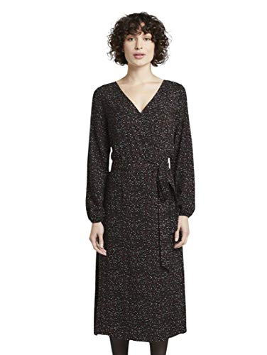 TOM TAILOR Damen Midi Wickelkleid Kleid, Black Leaf Allover P, 40