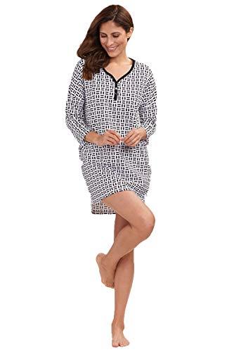 Rösch Nachthemd Damen 3/4-Arm Oversize-Longshirt in schwarz-weißem Grafikdruck, Gr. XS-XL, 2193429 S Black Graphics