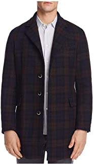 Men's Plaid Topcoat, Brown, Size: 54