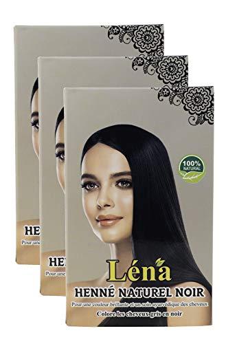 Schwarzes henna, haarfarbe, haarpflege, pflanzenhaarfarbe, weiße haare bedecken und 100% natürlich - Pack 3 X 100 g