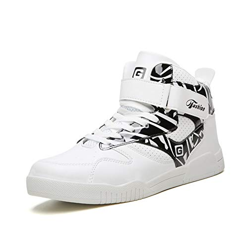 LEADER SHOW Men's Athietic Lace up Sneaker Fashion High Top Running Shoes (10, White-Black)