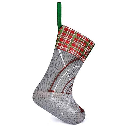 Estación de decoración de calcetines de Navidad con paredes limpias destacadas de superficie extraterrestre de gran explosión, chimenea de nave, decoración de Navidad para llenar todo tipo de caramelos, juguetes, bolas de Navidad de 9,9 x 13,2 pulgadas