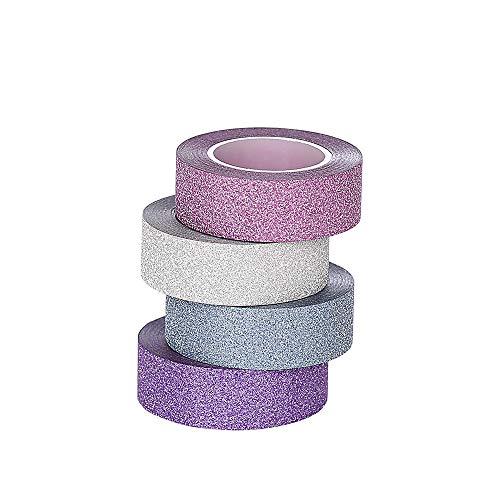 ST Glitter Washi Tape-Nastro Decorativo Glitterato ,15mm x 9.14m Ciascuno,Set di 4
