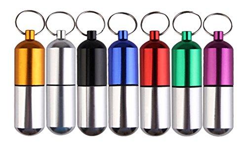 Gracefulvara 1pc Aluminum Alloy Waterproof Pill Case Keychain Emergency Seal Bottle