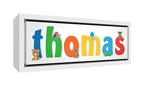 Little Helper LHV-THOMAS-2159-FCWHT-15IT Impression sur toile encadrée en bois blanc, dessin personnalisé avec nom des garçons Thomas, multicolore, 25 x 63 x 3 cm