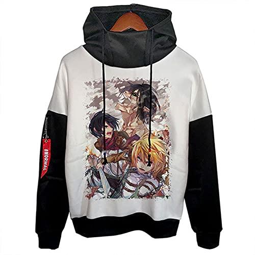 LXLX Sudadera con capucha Attack on Titan con capucha, diseño de anime de Japón, para adolescentes, unisex, moda, ocio, para todo partido, talla L