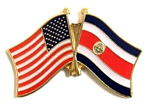 National Country Flag & US Crossed Double Flag Lapel Pins, International & American Friendship Enamel Tie and Hat Pin Badge (Costa Rica)