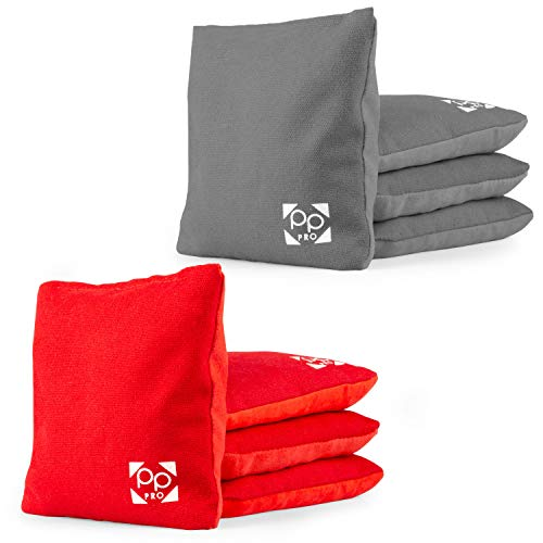 Professional Cornhole Bags - Set of 8 Regulation All Weather Two Sided Improved Bean Bags for Pro Corn Hole Game - 4 Red & 4 Gray
