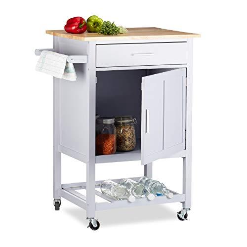 Relaxdays, grau Küchenwagen mit Weinablage, schöne Arbeitsplatte, Schublade, Tür, 360° Rollen, Holz, HBT: 90x63,5x49,5cm, Standard