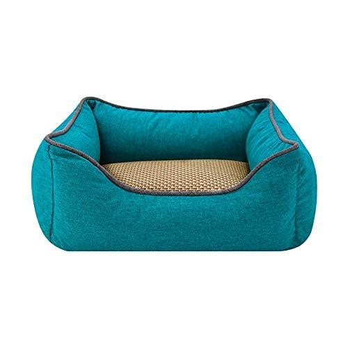 YANJ Suministros para Mascotas Cama para Perros Nido para Mascotas Cama para Gatos extraíble y Lavable Four Seasons XL: 90 * 65 * 23 cm Azul-Verde