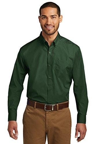 Port Authority Men's Long Sleeve Carefree Poplin Shirt, Deep Forest Green, 2XL