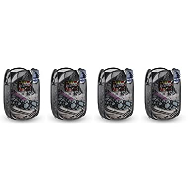 Foldable Pop-Up Mesh Hamper, Laundry Hamper with Reinforced Carry Handles Rectangle, Black (4)