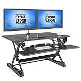 "G-PACK PRO - Desktop Standing Desk Converter | Sit-To-Stand Work Desk Riser | Adjustable from 5.7"" to 19.7"" | Fits Dual Monitor -Removable Keyboard Tray | Ergonomically Designed for Multipurpose Works"
