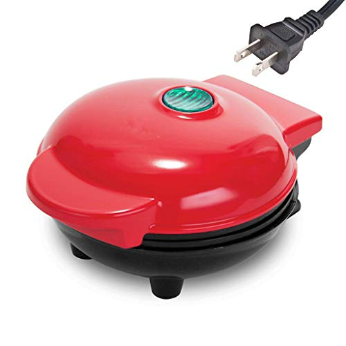 ruiruiNIE Mini máquina para Hacer gofres Desayuno clásico Cocina Redonda Individual Antiadherente