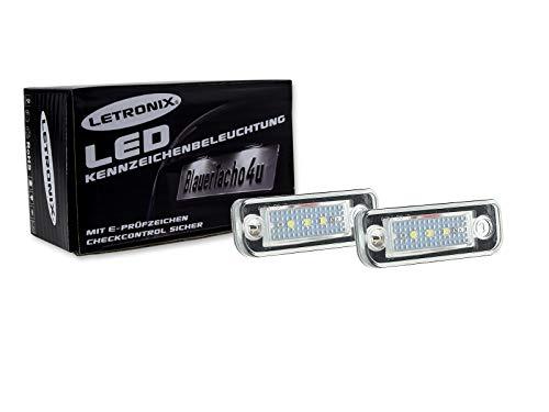 LETRONIX SMD LED Kennzeichenbeleuchtung Module geeignet für E-Klasse W211 Limousine/E-Klasse W211 Kombi/C-Klasse W203 Kombi/CLS C219 Limousine/SLK-Klasse R171 Roadster 2 mit E-Prüfzeichen