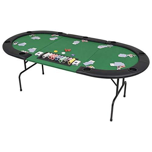 Mesa de Póker Plegable, Tablero de Póker Ovalado para 9 Jugadores, Verde...