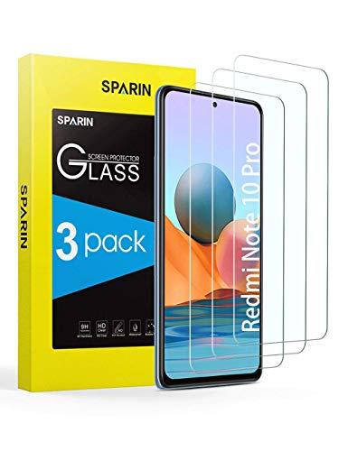 SPARIN 3 Pack Protector de Pantalla con Xiaomi Redmi Note 10 Pro/Redmi Note 10 Pro Max 6.67 Inch, Cristal Templado con Alta Definicion