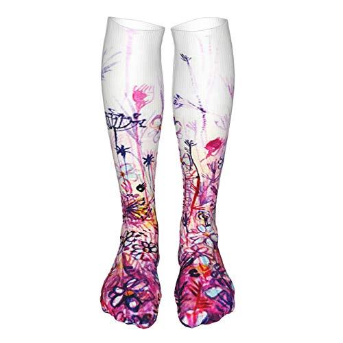 Verschleißfeste, bequeme modische Strümpfe, hohe Kniestrümpfe für Männer und Frauen, Socken zum Laufen, Sport, Outdoor-Kompressionssocken, Zen-Meditation und bunte Chakren