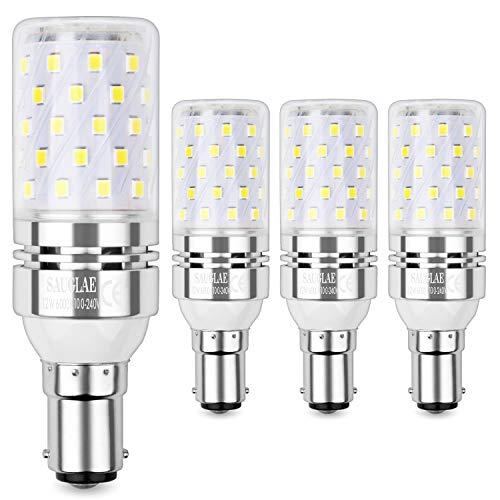 Sauglae B15 LED Mais Leuchtmittel 12W, Entspricht 100W Glühbirnen, 6000K Kaltweiß, 1200Lm, Kleine Bajonett Kappe LED Birne, 4-Pack