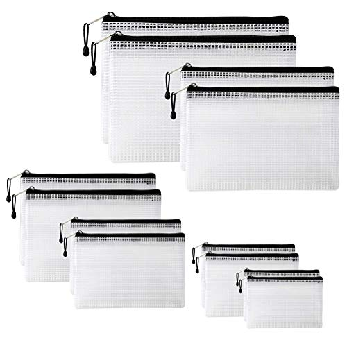 12 Stück Reißverschluss Dokument Mesh Taschen, Kunststoff Brieftasche Datei Ordner Wasserdichte Oberfläche Aufbewahrungstasche für Schulbürobedarf Kosmetik Reisezubehör, 6 Größen