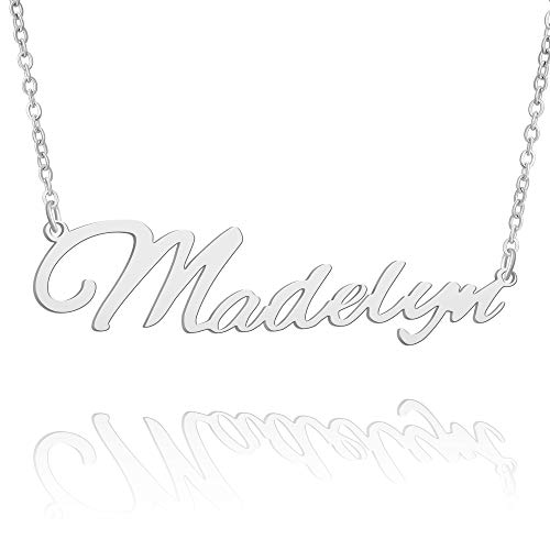 BUREI Women Personalized Name Necklace Silver Pendant Necklace Gifts for Madelyn