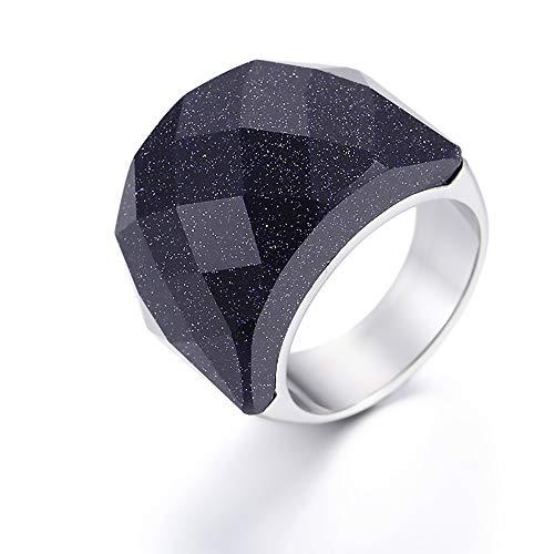 Anillo, Diamantes Negros De Lados Anchos, Joyas De Acero De Titanio, Regalo De Fiesta De Cumpleaños para Hombres