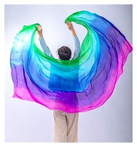 Huiyue Silk Belly Dance Silk Veil Tiro de Mano Bufanda Shaw Shawl Degradado 200 cm 250cm 270cm 300cm Faldas (Color : Multi, Size : 200X90CM)