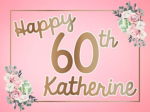 Party Explosions Happy 60th Birthday Floral Design Custom Yard Sign (Custom Name | Double-Sided)