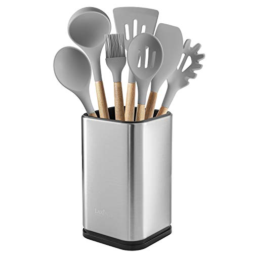 "Stainless Steel Kitchen Utensil Holder, Kitchen Caddy, Utensil Organizer, Modern Rectangular Design, 6.7"" by 4"" (utensils not included)"
