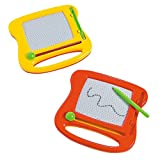 Kicko Mini Doodle Boards - 2 Pack, 4.25 Inches - Red, Yellow, Colors May Vary - Reusable Drawing Game for Education, Kids, Party Favors, School, Entertainment, Creativity, DIY