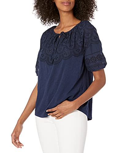 Lucky Brand Women's Embroidered Cut Out Peasant TOP, American Navy, S