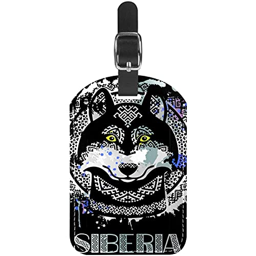 Etiquetas de equipaje de cuero de la PU Etiquetas de equipaje de viaje para mujeres y hombres etiquetas de identificación siberiano Husky en estilo étnico