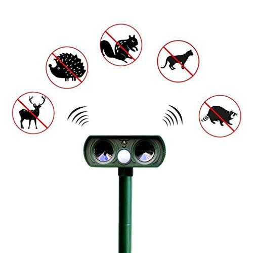 WMNRNYD Repelente ultrasónico Solar de perseguidor de Animales con Sensor PIR, disuasivo espantapájaros Perro, Gato, Ardilla, Rata, campañol, Mapache, Zorro, roedor, etc.
