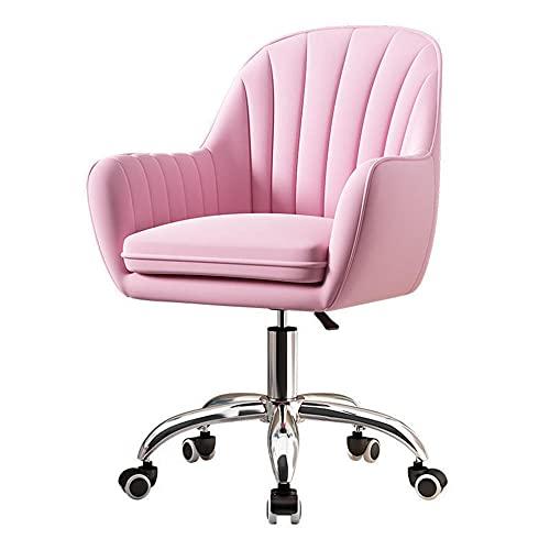 Silla de oficina de terciopelo con brazos y apoyo lumbar, silla ergonómica de escritorio de computadora moderna silla de tarea, silla giratoria para el trabajo en el hogar, color azul