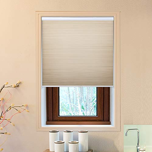 Allesin Cordless Cellular Shades, Light Filtering Shades, Honeycomb Blinds for Windows, Perfect for Bedroom/Living Room/Office/Nursery, Beige - 24' x 64'