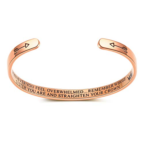 AFSTALR Whenever You Feel Overwhelmed Remember Whose Daughter You are Bracelet for Girls Sister Inspirational Gift Straighten Your Crown Sister Rose Gold