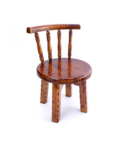 WUFENG Chaise pivotante en pin Nature avec Dossier Confortable, Petit Tabouret idéal pour Les Enfants, 38 * 35 * 56cm