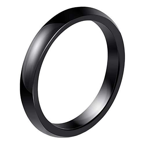 PAURO Damen Ring Keramik 3Mm Comfort Fit Hochzeitsband Einfachen Poliert Schwarz Größe 57