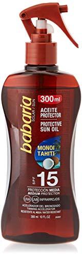Babaria Monoi Tahiti Pistola Aceite Protector Solar Spf15, Blanco, 300 Mililitros