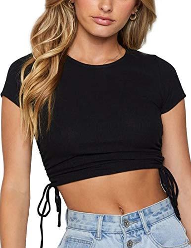 Camisetas Manga Corta Mujer con Cuello Redondo Top Corto Básica y Linda Cordón Lateral Fruncido en La Parte Superior Corta