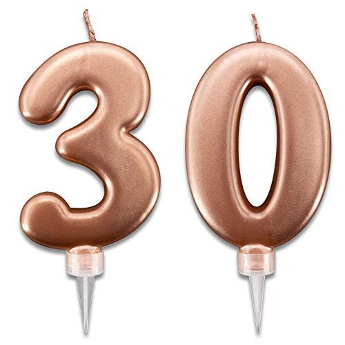 Velas de 30 años de color rosa dorado para tarta de fiesta de cumpleaños | Decoración de velas para cumpleaños | Decoración para tarta de 30 años | Altura 10 cm