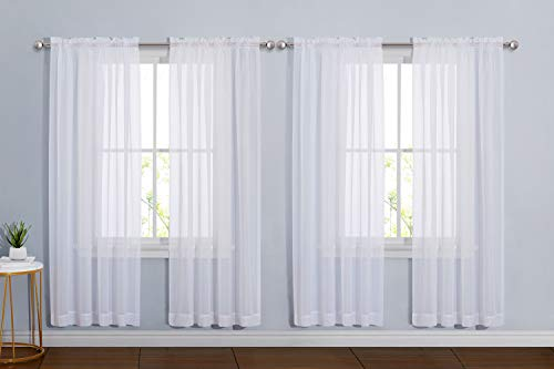 "NICETOWN Sheer White Curtain Sets 72 inch Length, Window Treatment Rod Pocket Tulle Voile Drape/Panel for Living Room/Bedroom, 4 Panels, 60"" Wide"