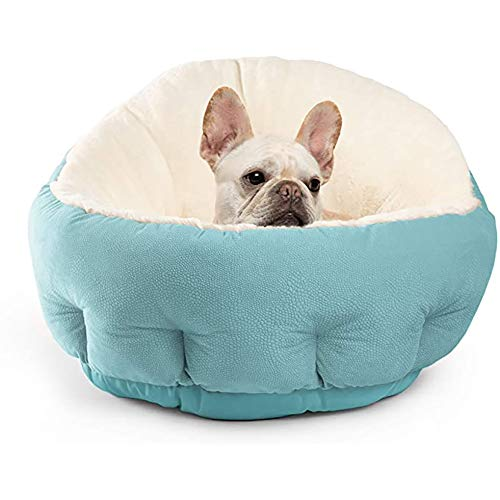 Queta Cama para Perros y Gatos,Mascotas Calentito Cojín Redondo Suave (Azul)