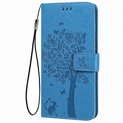 TANYO Flip Tasche Hülle für LG K42, Schutzhülle Leder Klapptasche mit Kartenfächer, 3D Katze Baum Muster Folio Handytasche Handyhülle - Blau