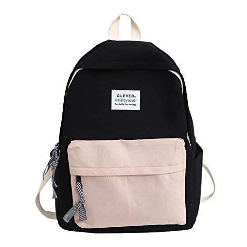 Mochila Casual Niñas Moda Estilo Japonés de Color Sólido Negocios - FossenStu Mochila Escolar, Bolsa de Viaje, Bolsa de Alpinismo - Mochilas para Estudiantes de Secundaria (Negro-Clever)