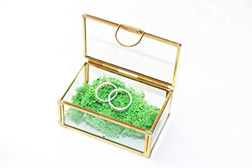 RINGKISSEN GLASBOX Gold Farben + ISLANDMOOS Ringkissen Alternative Glas Metallbox Vintage Nostalgie Ringhalter Ringträger Ringbox