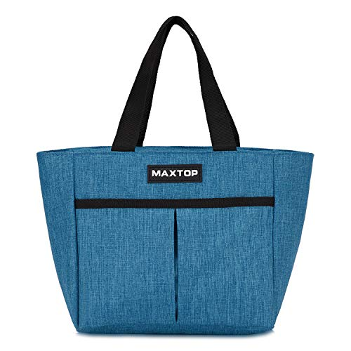 MAXTOP Lunch Bags for Women,Insulated Thermal Lunch Tote Bag,Lunch Box with Front Pocket for Office Work Picnic Shopping (Blue (Additional Zipper Pocket), Large)
